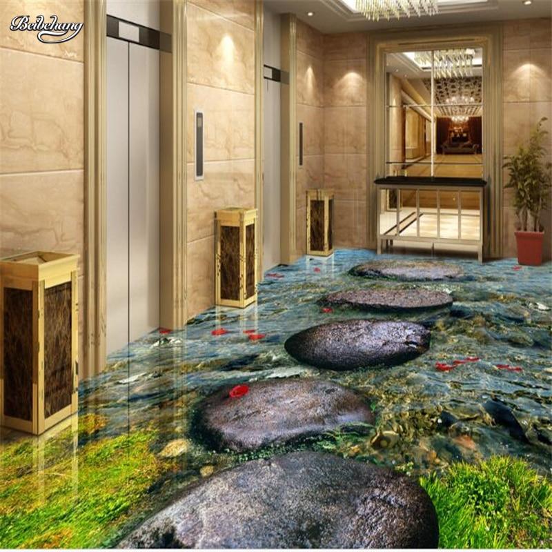 Купить с кэшбэком beibehang Custom large fresco stone river water bath 3D floor thickening environmental waterproof pvc wear film