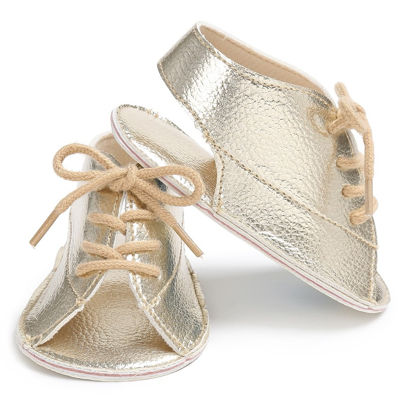 Summer Lovely Baby Boys New Handsome Fashion Lace-Up PU Leather Soft Soled Anti-Slip Newborn Kids Shoes Sandal