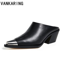 sexy pointed toe high heels genuine leather women pumps brand dress shoe summer footwear fashion sandals platform slippers black