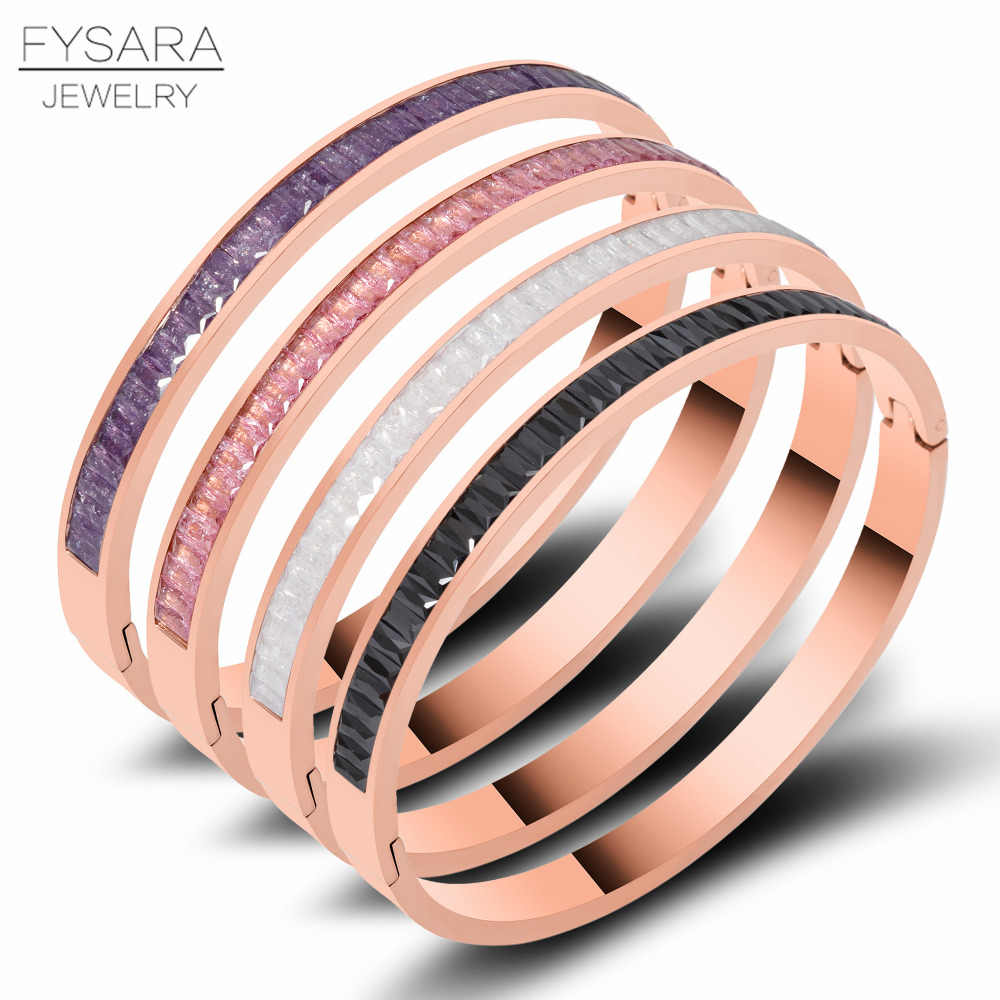 FYSARA Boho Colorful Austrian Crystals Square Bangle & Bracelet For Women Indian Jewelry Rose Natural Stone Round Row Bangles
