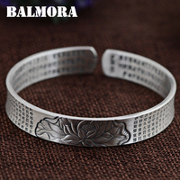 BALMORA Buddhistic Sutra Bangle 100 Real 999 Pure Silver Jewelry Vintage Bangles For Women Men Gifts