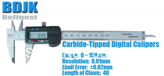 0~150mm Carbide-Tipped Digital Caliper / Calipers / Measuring Tool / Instrument with 0.02mm Limit Error0~150mm Carbide-Tipped Digital Caliper / Calipers / Measuring Tool / Instrument with 0.02mm Limit Error