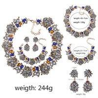 BK Bohemian Bridal Jewelry Sets Stainless Steel Set For Women Earrings Necklace Bracelet Sets Statement Wedding Jewelry Set