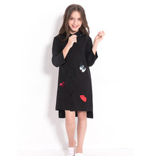 Детское платье черная шифоновая блузка для девочек подростков, одежда для девочек 5, 7, 9, 10, 12, 14 лет, детское платье с длинными рукавами и блестками для девочек