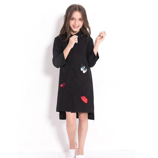 Дети платье черный Шифоновая блузка для девочек Одежда для девочек-подростков 5 7 9 10 12 14 лет с длинным рукавом блестками Детское платье