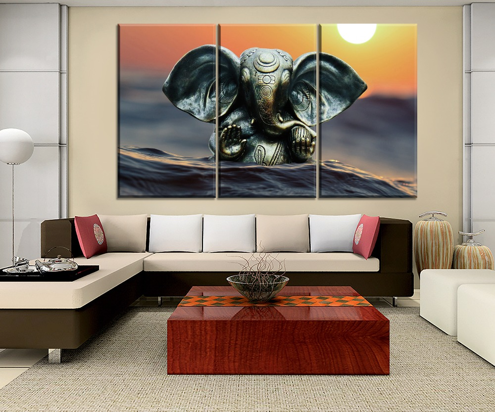 3 Piece Lord Ganesha Modular Painting On High Quality Canvas Print And On The Wall Decorative Ganapati Bappa And Sunset Poster in Painting Calligraphy from Home Garden