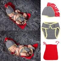 Whole Set Newborn Baby Boys Crochet Knit Costume Hat Pants Photography Props Hat Tops Pants
