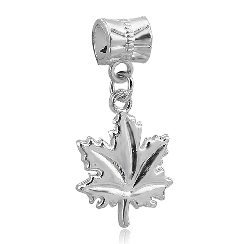 1pc maple leaf pendant charms silver dangle bead for