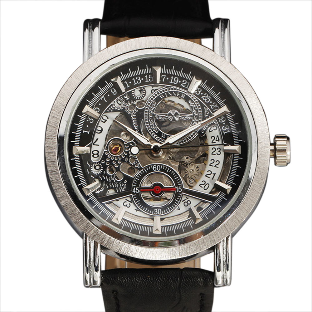 WINNER Watches Men Luxury Brand Automatic Watch Men Layer Auto Date Circle Dial Leather Strap Military Mechanical Skeleton Watch winner mens watches top brand luxury leather strap skeleton skull auto mechanical fashion steampunk wrist watch men gift box
