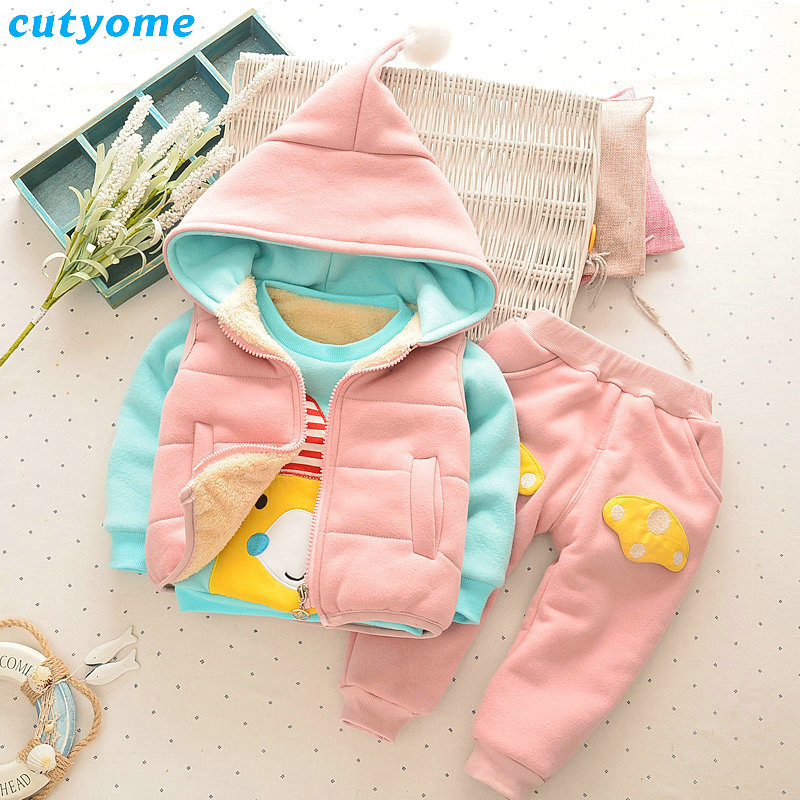 Cutyome 3PCS Set Baby Girls Clothes Outfits Plushed Vests+Hoody+Pants Toddler Kids Girl Long Sleeve Clothing Sport Tracksuits toddler girls kids clothes sets off shoulder tops short sleeve denim pants jeans headbands 3pcs outfits set clothing