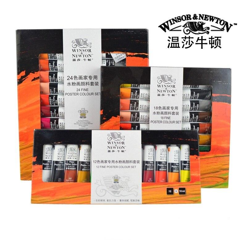 Winsor & Newton 24/18/12 Color High Quality Gouache Paints 10ml Featured The Pigment Gouache Fine Professional Student Pigment the sampar sampar 10ml