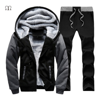 Russia Size Winter Men Fleece Set Suits Warm Tracksuit Men Casual Pants & Hoodies Sets Men's Coats Thick Fleece Jacket Men 2018
