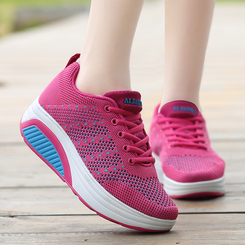 b4d5fcb78a68 Kezrea Dropshipping Shops Sneakers Women s Knitted Sports Life Walking  Shoes Leisure Breathable Light Running Sports Shoes-in Running Shoes from  Sports ...