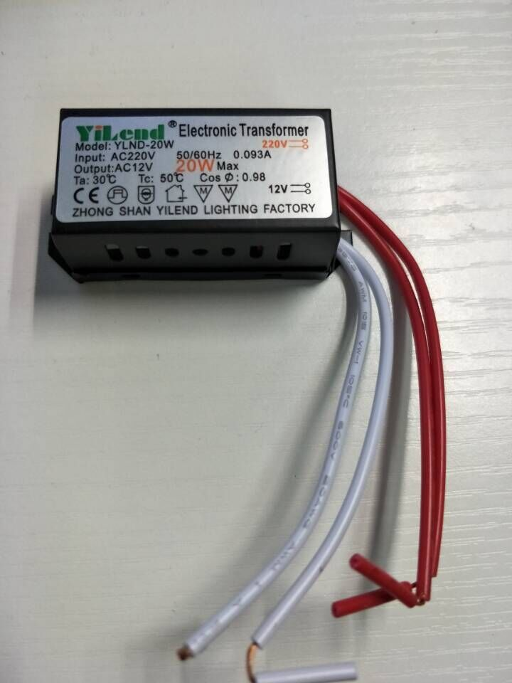 1 piece AC 220V to 12V Electronic Transformer 20W LED driver Power Supply for MR11 MR16 G4 Lamp bulbs