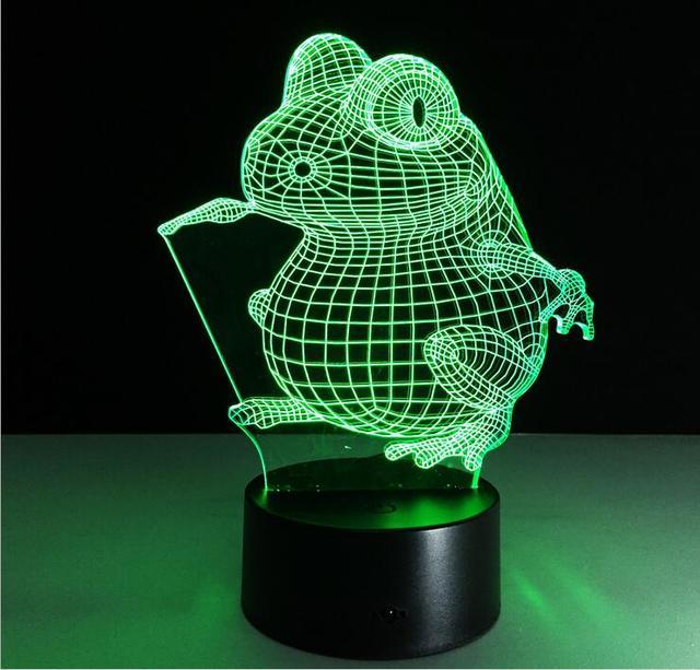 3D Cartoon Frog LED Light 7 Colors Night LightsHome Beside Bedroom Living Room Lamps