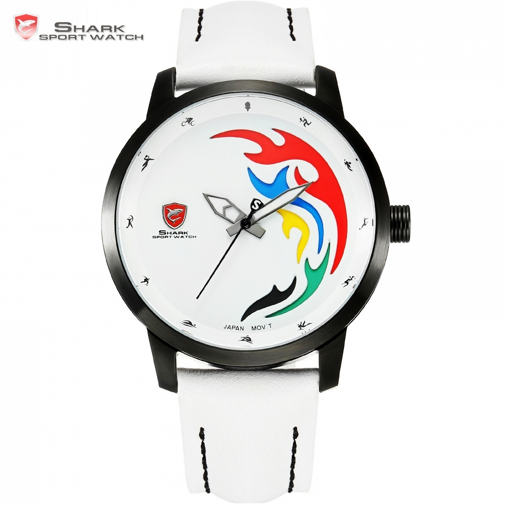 Top Luxury SHARK Sport Watch World Sports Games Limited Brazil Rio Color Flame White Leather Olive