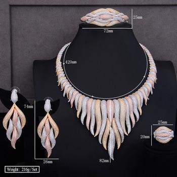 GODKI Super Luxury glacier Tassels 4PCS African Necklace Zircon Jewelry Sets For Women Wedding Indian Nigerian Party Jewelry Set 5