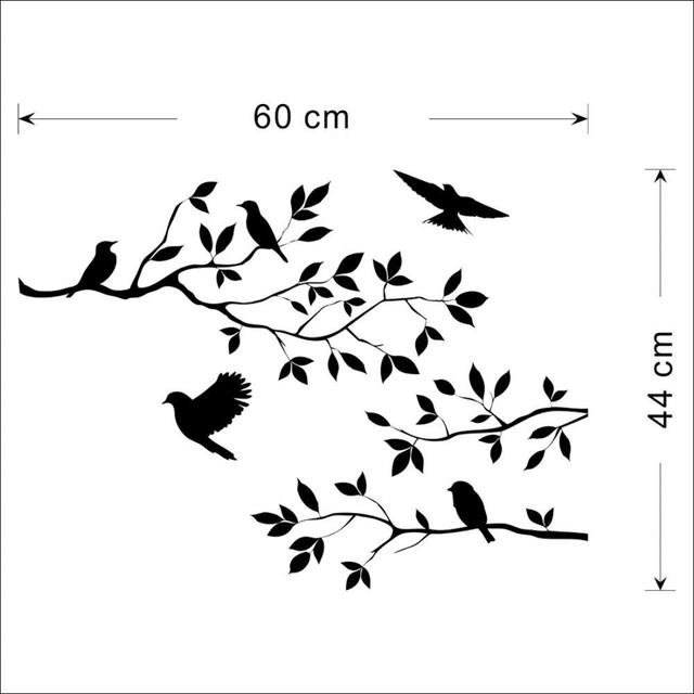 Black Bird Tree Branch Wall Sticker