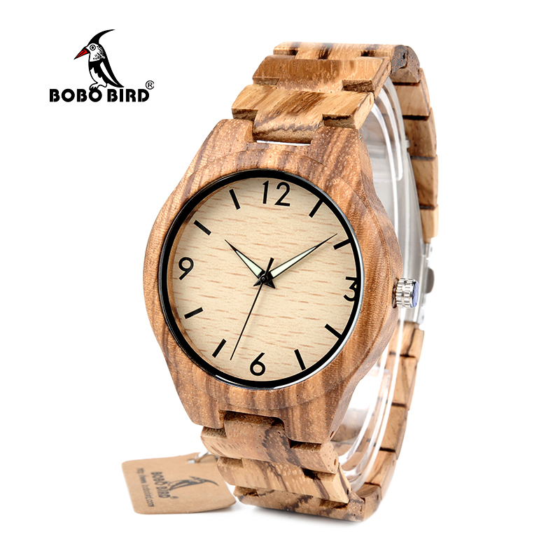 BOBO BIRD WG24 Men's Design Brand Luxury Zebra Wooden Watches With Full Real Wood Band Quartz Watch in Gift Box