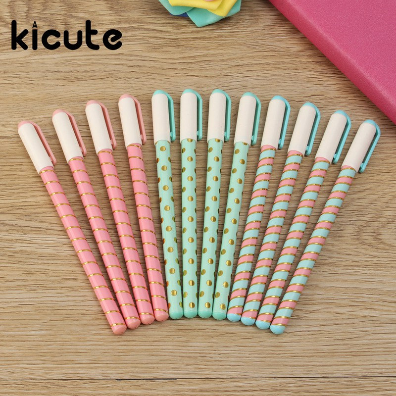 Kicute 12pcs/pack 0.38mm Fresh Design Cartoon Gel Pen Set Bls
