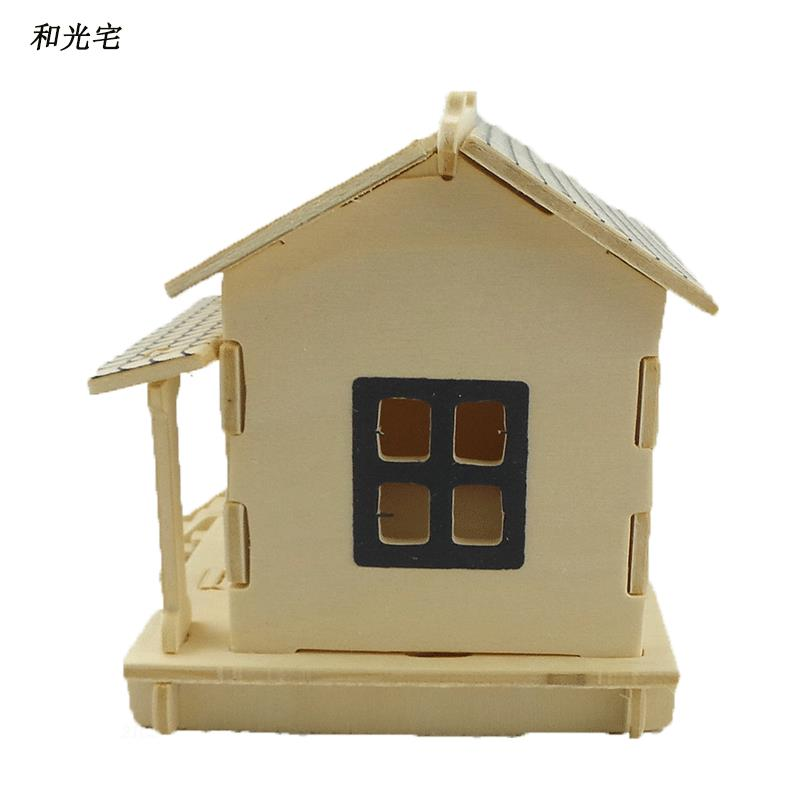 Freeshipping Wooden Scale Model DIY Toy 3D Puzzle Log Cabin