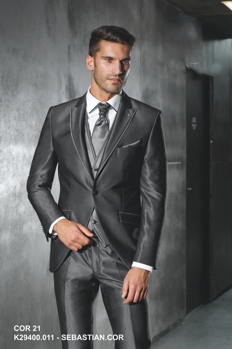 Italian custom made Navy Blue groom suits Black Lapel One button ...