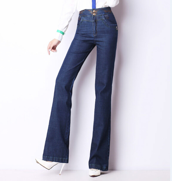 Straight pants for women denim jeans casual embroidery cotton full length high waist autumn spring female