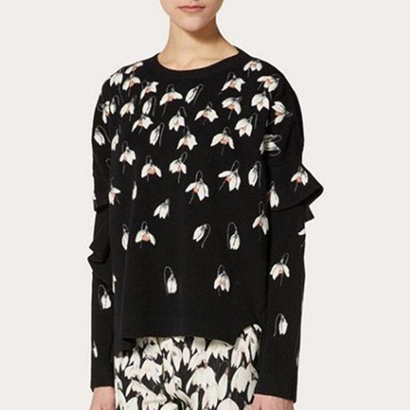 Chandail noir femmes 2019 automne hiver broderie florale lâche pull chandails piste haute basse tricoté hauts Streewear