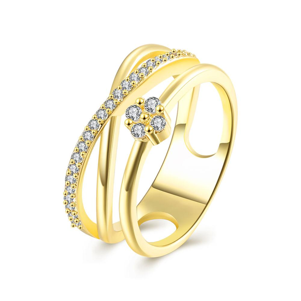Fashion Jewelry 18K Gold Plated CZ Elegance Double-deck Ring Women Ring for Wedding/Party/Prom All Eyes Are Fixed On Rings Hot