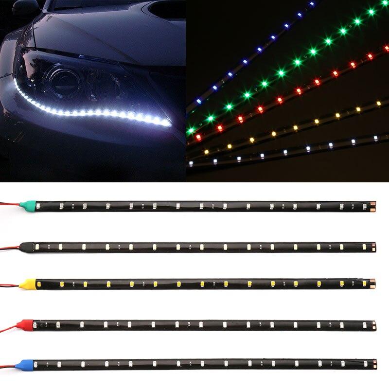 """""""12В 11.8"""""""" 15SMD LED Водонепроницаемый дневного света 30 см автомобиль гибкие светодиодные полосы света декоративные DRL автомобиля авто-стайлинг"""""""