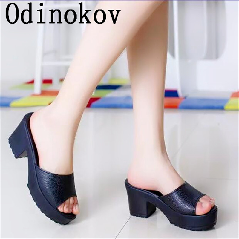 High Heels Sandals Slippers Solid Non-Slip Thick Soled Female Platform  Wedge Women Slippers Summer 4958ecd23