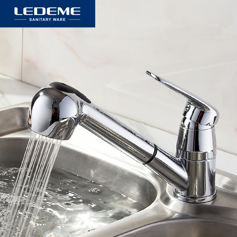 LEDEME Kitchen Faucet Pull Out Flexible Pipe Chrome Plated Water Purification Features Faucets Ceramic Plate Spool