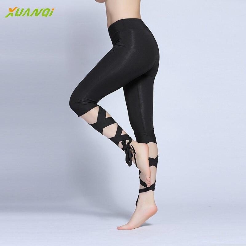 Yoga Pants Women Cross Tights Sport Fitness Running Workout Leggings Quick Dry Elastic Dance Pants Cutout Tie Cuff