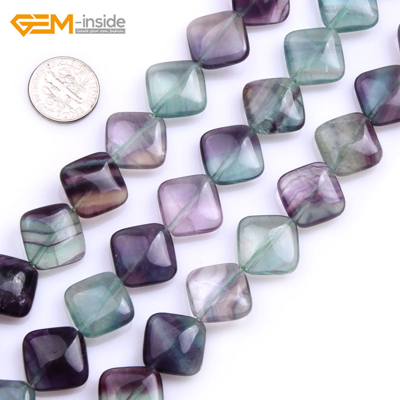 Gem-inside Natural Rondelle Shape Fluorite Stone Beads For Jewelry Making 16mm 15inches DIY Jewellery