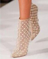 Роскошные брендовые бежевые сетчатые кожаные сапоги женские прямой валиковый шов прозрачные Лоскутные банкетные туфли на тонком каблуке с