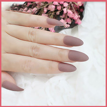 24pcs/set Matte Almond Fake Nail Art Black Red Pink Blue Nude Purple Full Cover Frosted Artificial False Stiletto Nails Tips(China)