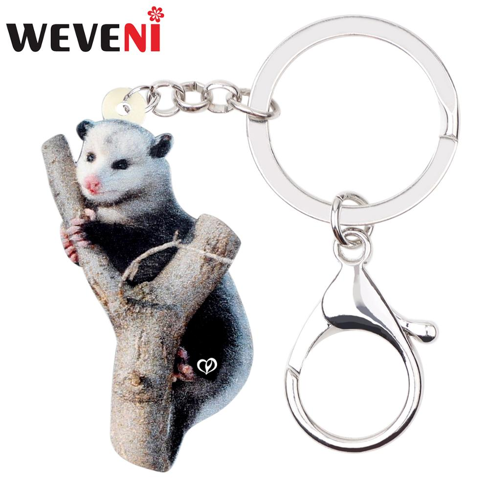 WEVENI Original Acrylic Gray Cute Possum KeyChain Keyrings Unique Design Jewelry For Women Girls Bag Car Charms Lots Gift