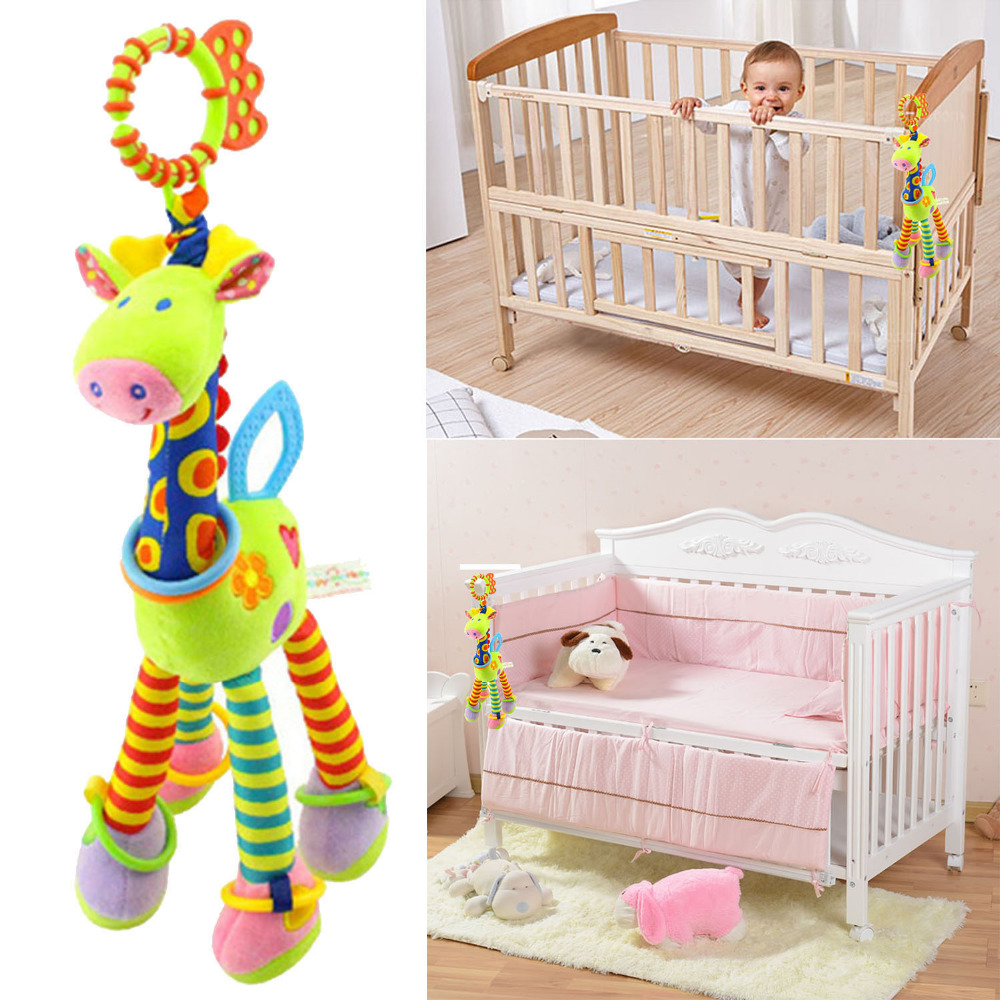 Cute Cartoon Plush Giraffe Soft Infant Crib Bed Stroller Toy Newborns Baby Kids Mobile Hanging Bells Toy Infant Teether Toys
