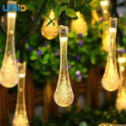 Солнечная струнная лампа с каплями дождя, Солнечная лампа, водонепроницаемая, Рождественская, праздничная, наружная, Садовая, декоративная,...