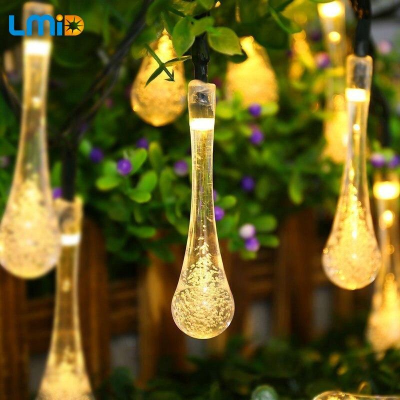 LMID colorida lámpara Solar de gota de lluvia impermeable Navidad vacaciones exterior jardín decoración Hada batería Solar Cadena de luz