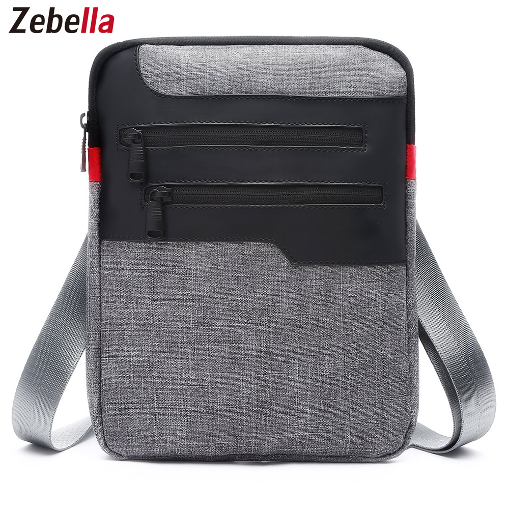 Zebella Casual Mens Messenger Shoulder Bag För iPad Satchel Nylon Travel Business Briefcase Bröst Pack Handväska Sacoche Homme