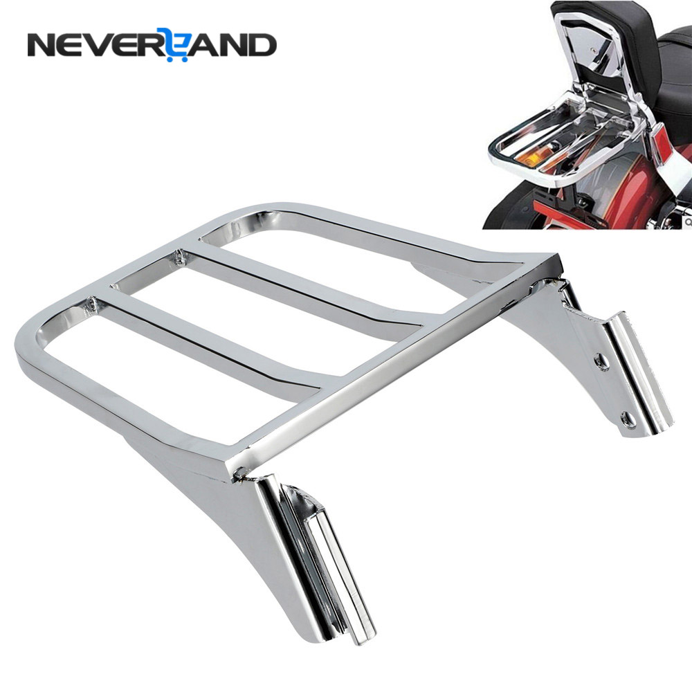NEVERLAND Motorcycle Sissy Bar Backrest Luggage Rack For Harley Street Dyna Heritage Softail Wide Glide Sportster 1200 883 D35 25mm scrambler handlebar retro style drag cross bar drilled hole for harley sportster xl iron 883 1200 dyna wide glide cruiser