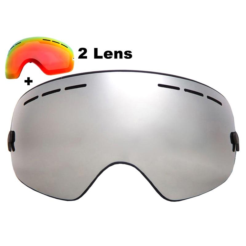 Prix pour Marque Ski Lunettes Double Couches UV400 Anti-brouillard Grand Masque de Ski Lunettes Ski Snowboard Lunettes Avec Lentille Rouge