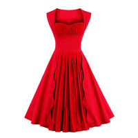 Fashion Women Red Dress Summer Audrey Hepburn 50s 60s Vintage Dresses Vestidos Plus Size Rockabilly Pleated