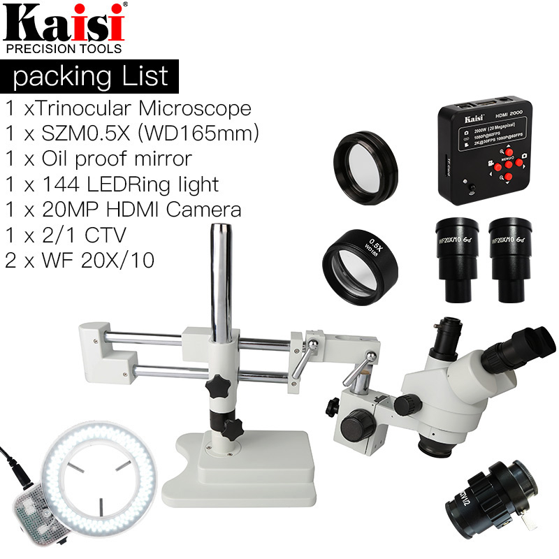 3.5X-90X Double Boom Stand Trinoculaire Stéréo Microscope 20MP HDMI 1920x1080 Caméra 144 pc Anneau Lumière SZM0.5X objectif lentille