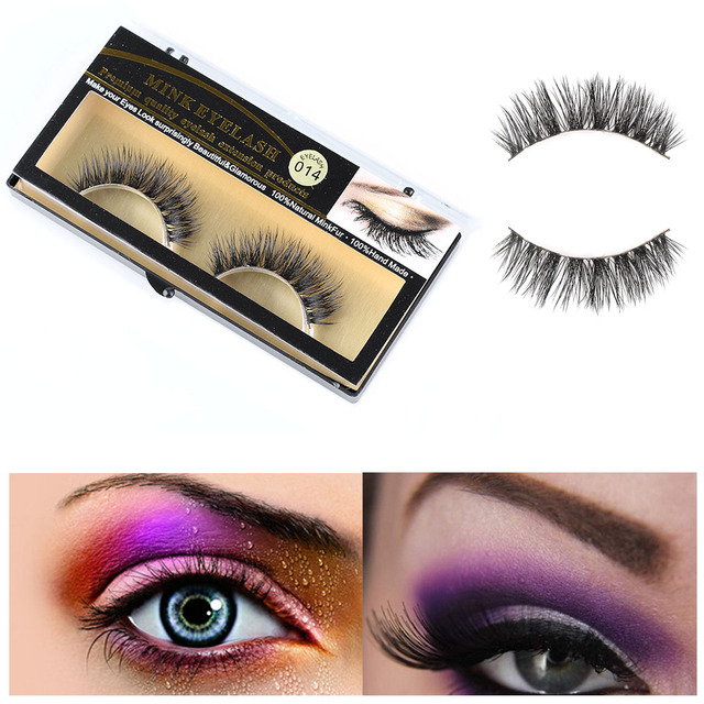 1 Pair New Fashion Women Beauty Makeup 100% Handmade Real Mink Hair Natural Soft False Eyelashes Cross Lashes Fake Eyelashes 4
