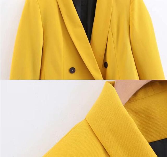 2019 femmes Double boutonnage Long Blazers bureau dame petit costume veste dames loisirs jaune Blazer lâche manteau Streetwear 5