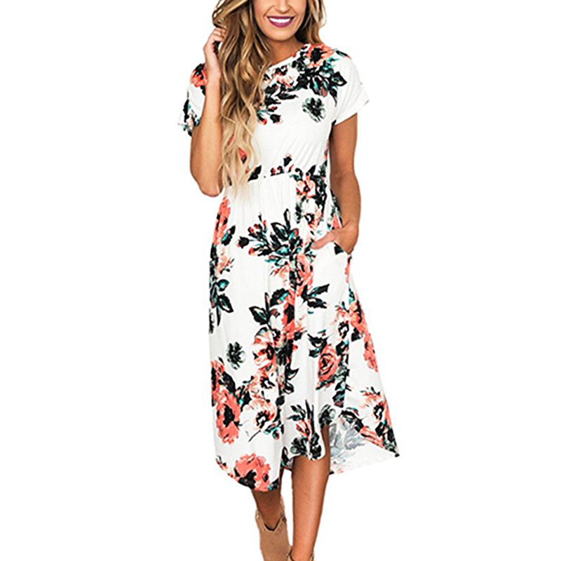 New Summer Dress Women Floral Print Boho Beach Dress Tunic Evening Party Dress Casual Short Sleeve Femme Mid-Calf Sundress 2XL