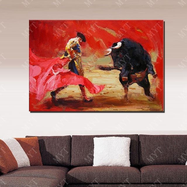 Matador Spanyol Abstrak Minyak Lukisan Ruang Tamu Dinding Gambar Kanvas Besar Wall Art Hand Painted