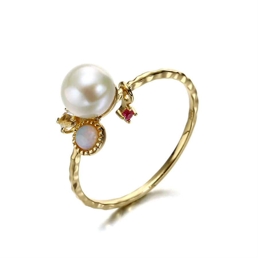 Vintage Pearls Rings Opal Ruby Ring Sets 14K Gold Jewelry Bride Wedding Engagement for Women Girls Bijoux Ageta 2019